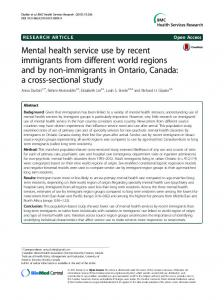Mental health service use by recent immigrants from different ... - TSpace