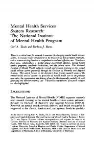 Mental Health Services System Research: The National ... - NCBI