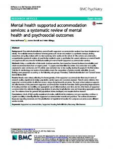 Mental health supported accommodation services: a ... - BMC Psychiatry