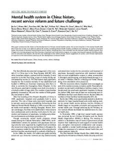 Mental health system in China: history, recent service ... - Helen Herrman