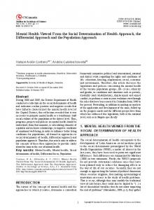 Mental Health Viewed From the Social Determination