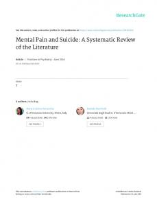 Mental Pain and Suicide: A Systematic Review of the ...