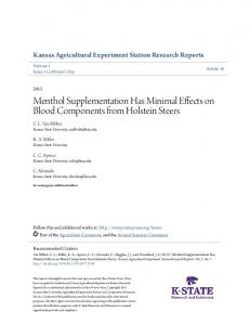 Menthol Supplementation Has Minimal Effects on ...