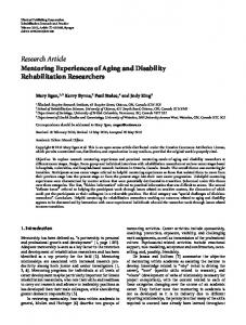 Mentoring Experiences of Aging and Disability Rehabilitation ...