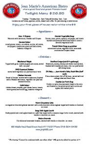 MenuPro Spring twilight menu 2012 - KPsearch.com