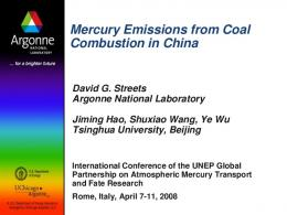 Mercury Emissions from Coal Combustion in China