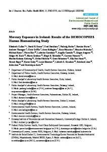 Mercury Exposure in Ireland: Results of the DEMOCOPHES ... - MDPI