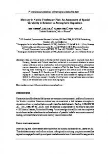 Mercury in Nordic Freshwater Fish: An Assessment of Spatial ...