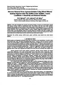 Mercury Removal from Aqueous Solution Using ... - Research Inventy