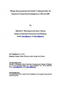 Merger Announcements and Insider Trading Activity - European ...