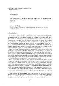 Mergers and Acquisitions: Strategic and