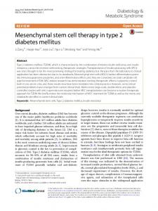 Mesenchymal stem cell therapy in type 2 diabetes ... - Springer Link