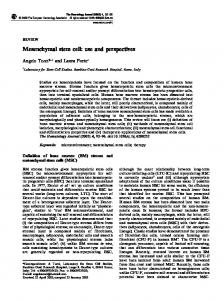 Mesenchymal stem cell: use and perspectives - The Hematology Journal