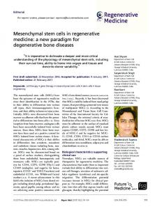 Mesenchymal stem cells in regenerative medicine: a ... - Future Medicine