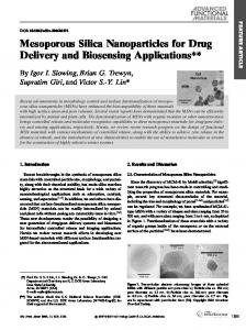 Mesoporous Silica Nanoparticles for Drug Delivery ... - Purdue University