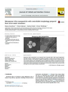 Mesoporous silica nanoparticles with controllable ...