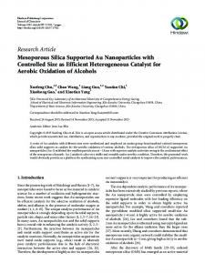 Mesoporous Silica Supported Au Nanoparticles with Controlled Size ...