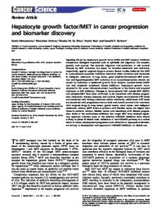 MET in cancer progression and biomarker discovery