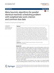 Meta-heuristic algorithms for parallel identical machines scheduling ...