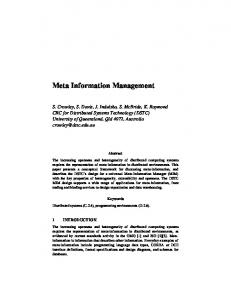 Meta Information Management - CiteSeerX