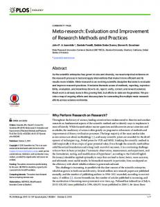 Meta-research: Evaluation and Improvement of Research ... - PLOS