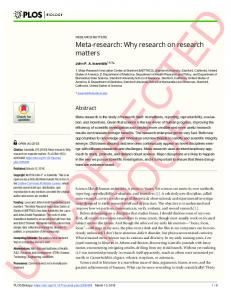Meta-research: Why research on research matters - PLOS