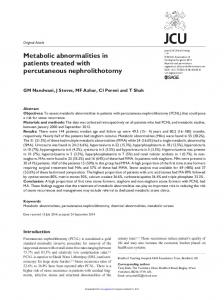 Metabolic abnormalities in patients treated with ...