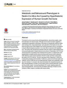 Metabolic and Behavioural Phenotypes in Nestin-Cre Mice Are ... - PLOS