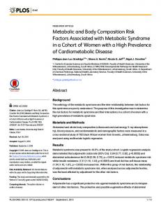 Metabolic and Body Composition Risk Factors ... - Semantic Scholar