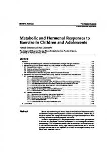Metabolic and Hormonal Responses to Exercise in Children and ...