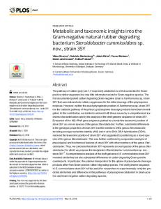 Metabolic and taxonomic insights into the Gram-negative ... - PLOS