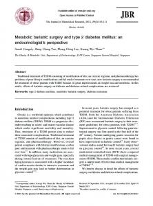 Metabolic bariatric surgery and type 2 diabetes