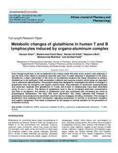 Metabolic changes of glutathione in human T and ... - Academic Journals