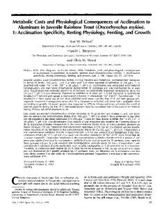 Metabolic Costs and Physiological Consequences of Acclimation to ...