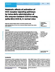 Metabolic effects of activation of CCK receptor signaling pathways by ...