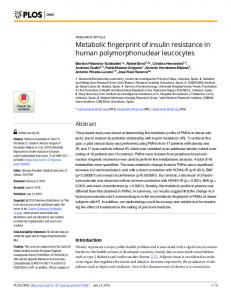 Metabolic fingerprint of insulin resistance in human ... - PLOS
