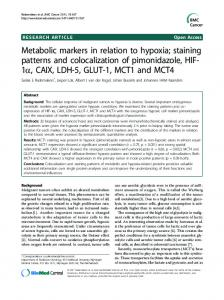 Metabolic markers in relation to hypoxia; staining