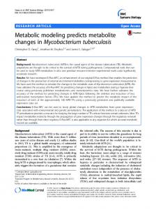 Metabolic modeling predicts metabolite changes in Mycobacterium ...
