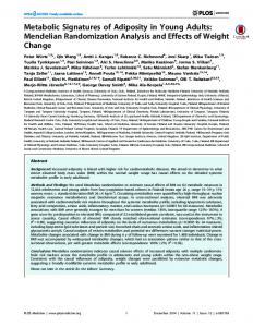 Metabolic Signatures of Adiposity in Young Adults