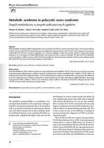 Metabolic syndrome in polycystic ovary syndrome - Endokrynologia ...