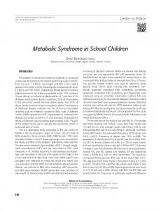 Metabolic Syndrome in School Children - Semantic Scholar