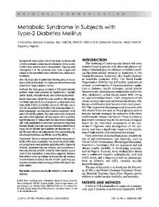 Metabolic Syndrome in Subjects with Type-2 Diabetes Mellitus - NCBI
