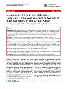 Metabolic syndrome in type 2 diabetes: comparative ... - Springer Link