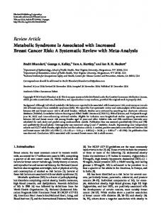 Metabolic Syndrome Is Associated with Increased Breast Cancer Risk ...