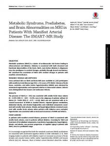 Metabolic Syndrome, Prediabetes, and Brain ... - Diabetes Care