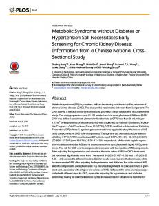 Metabolic Syndrome without Diabetes or ... - Semantic Scholar