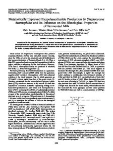 Metabolically Improved Exopolysaccharide Production by ...