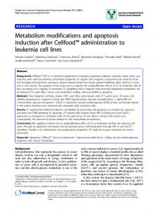 Metabolism modifications and apoptosis induction after Cellfood ...
