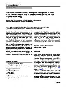 Metabolism of carbohydrates during the development of seeds of the ...