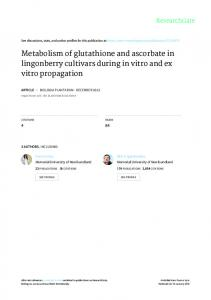 Metabolism of glutathione and ascorbate in ...